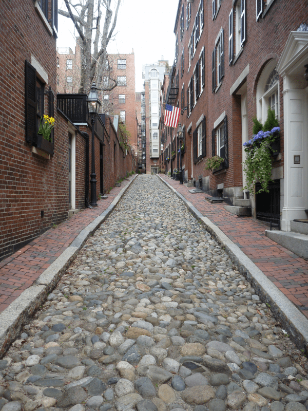 Cobblestone street on Beacon Hill, Boston, inspired Asmara Mosaic Rug