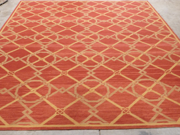 Great rugs have abrash, red, gold, beige geometric rug