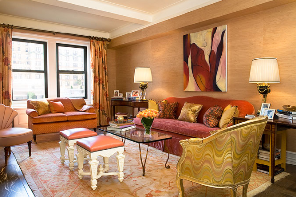 Jennifer flanders mixes bold pinks with red and gold - Gold rug for living room ...