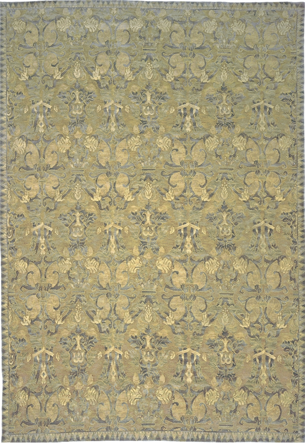 Blue, gold, green textured Spanish oriental rug