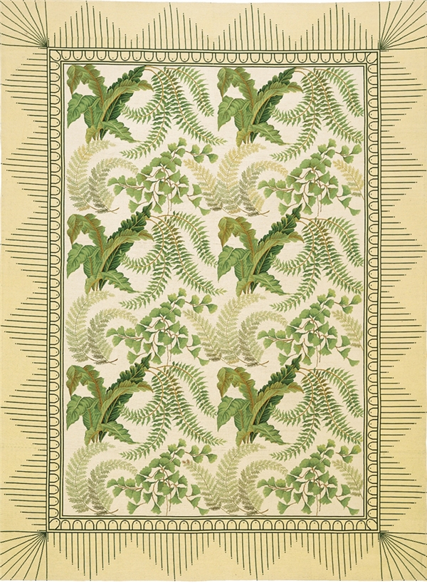 Cream, green fern botanical needlepoint rug, Asmara Ferncroft rug