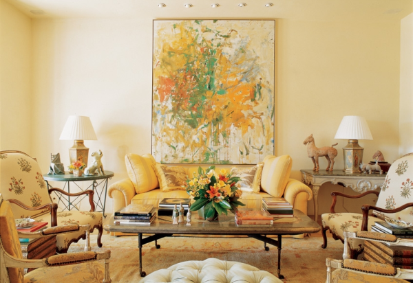 Beige, gold oriental rug, Bunny Williams living room Provence