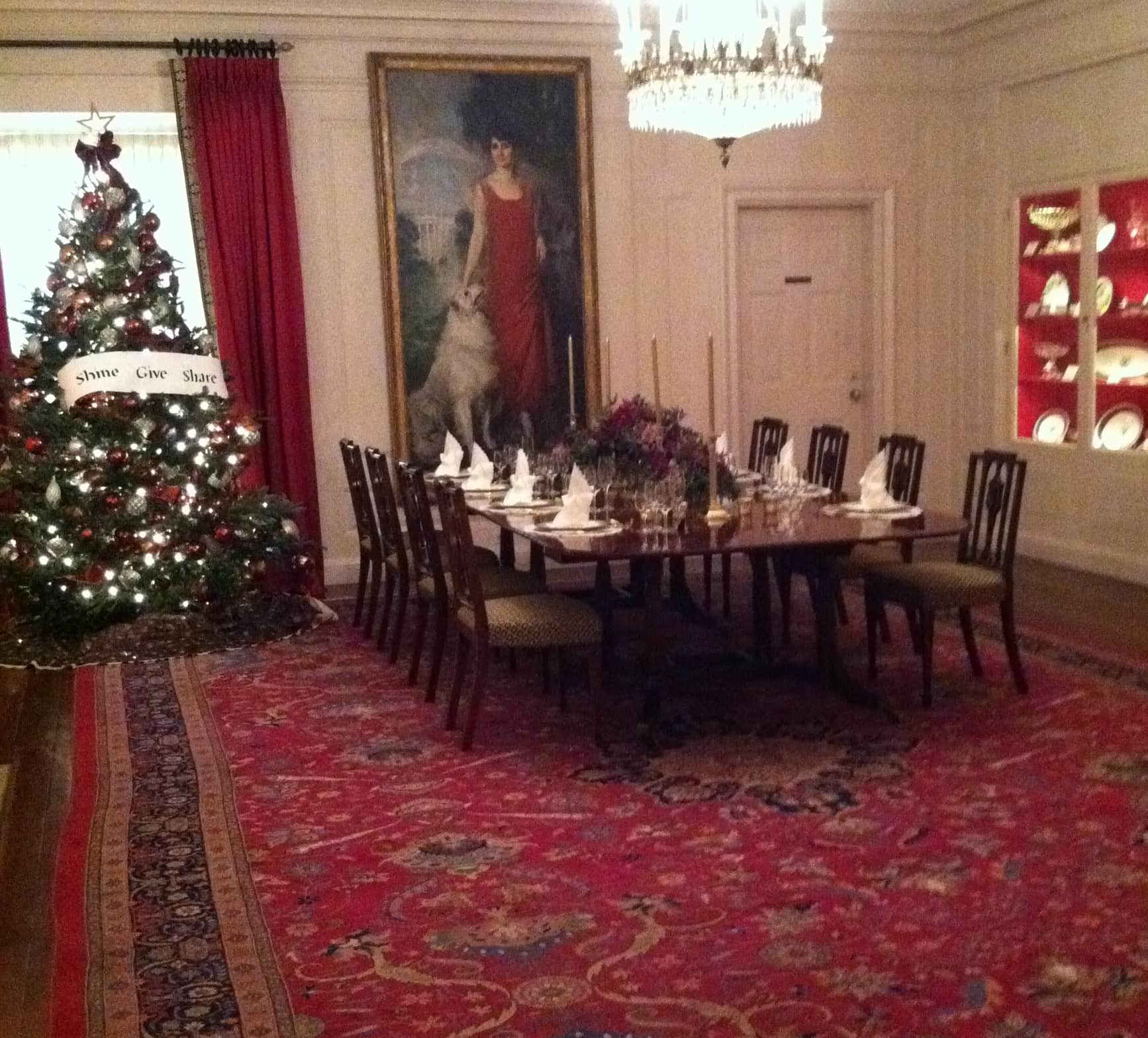 Red traditional decorative rug, White House China room