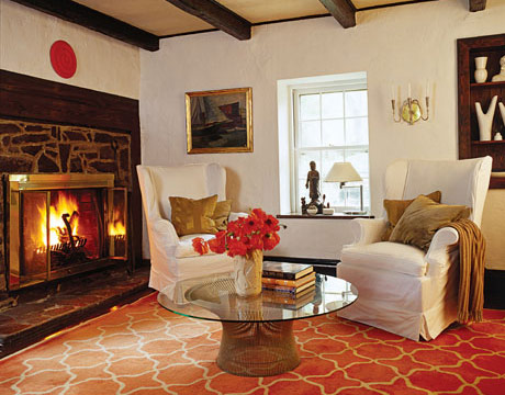 Red and gold geometric decorative rug, Eldon Wong
