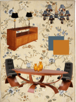 Image for How to Artfully Mix Modern Furniture and Blue, Gold Needlepoint Rugs