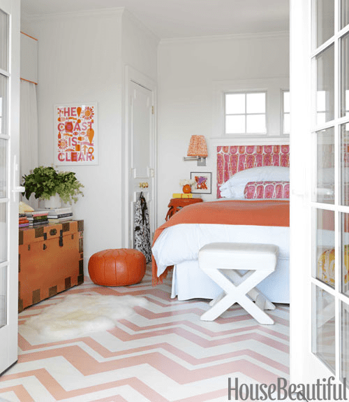 Orange Rugs, Coral Rugs, Pink Rugsmona ross berman, 60's Beach House, House Beautiful Mag 1 chevron painted floor resized 600