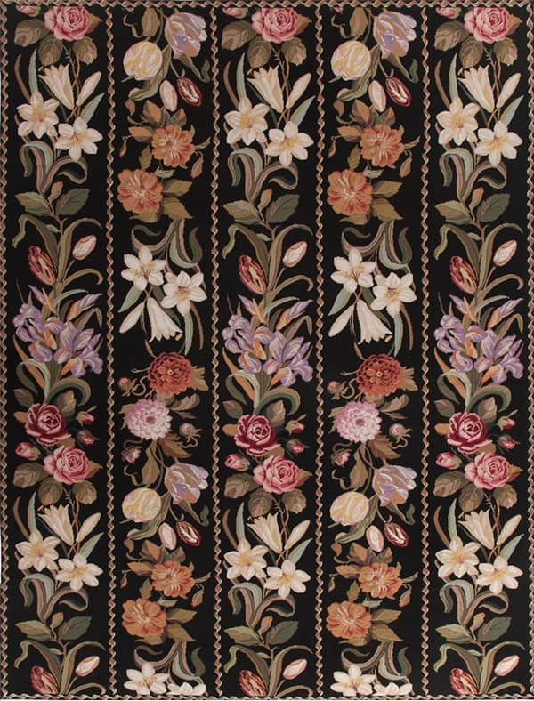 Needlepoint rugs, needlepoint rugs for sale, needlepoint rug, needlepoint area rugs, needlepoint carpet, floral needlepoint rugs, black needlepoint rugs