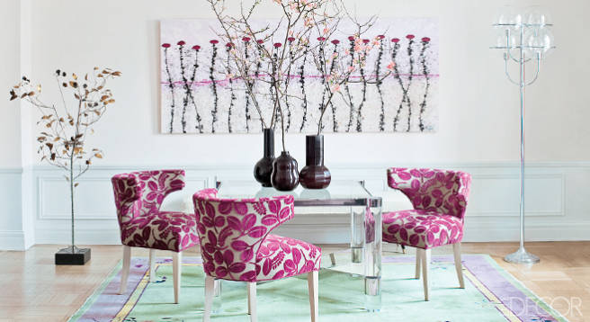 Rafael de Cardenas apt for Cosmetics star Jeanine Lobell and actor Anthony Edwards, games room, Chinese Art Deco rugs, Elle Decor