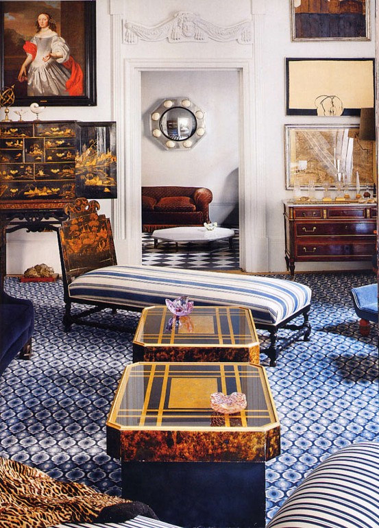 How 10 Celebrities Decorate with Needlepoint Rugs in Blue and White