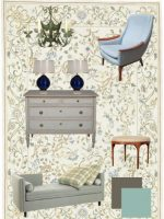Image for Chic Relaxing Interior Mixes Mid Century Modern with Needlepoint Rug