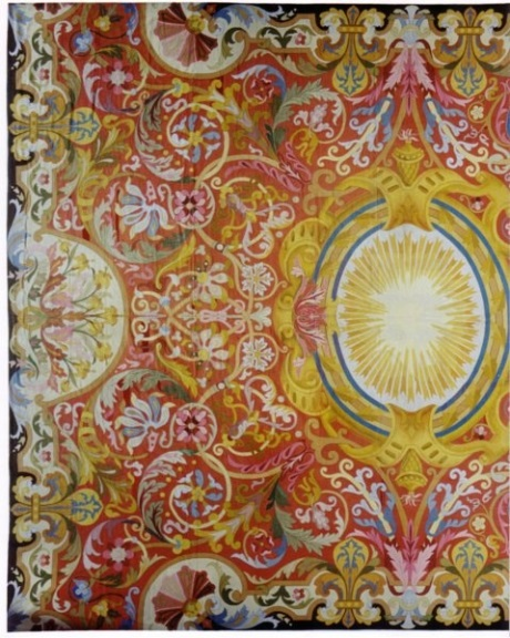 Red, gold and blue antique needlepoint rug