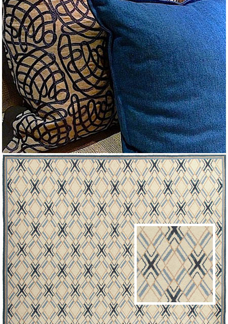 blue rugs, blue rugs for sale, geometric blue rugs, blue needlepoint rugs, blue and white rugs