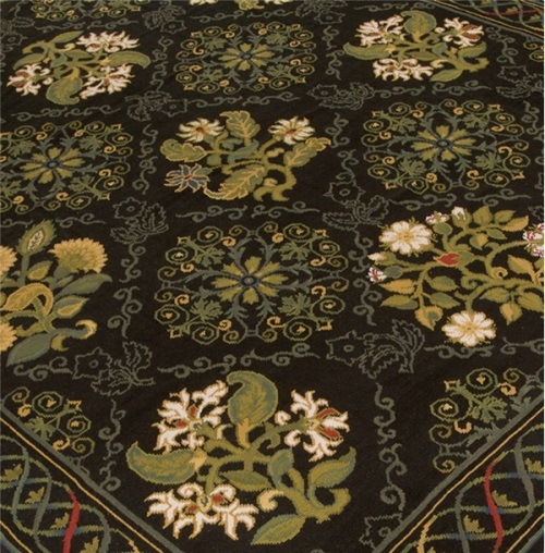 black rugs, black Aubusson rugs, black needlepoint rugs, black rugs for sale
