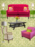 Image for 2 Glamorous Ways to Decorate with Fuchsia and Orange on Green Rugs