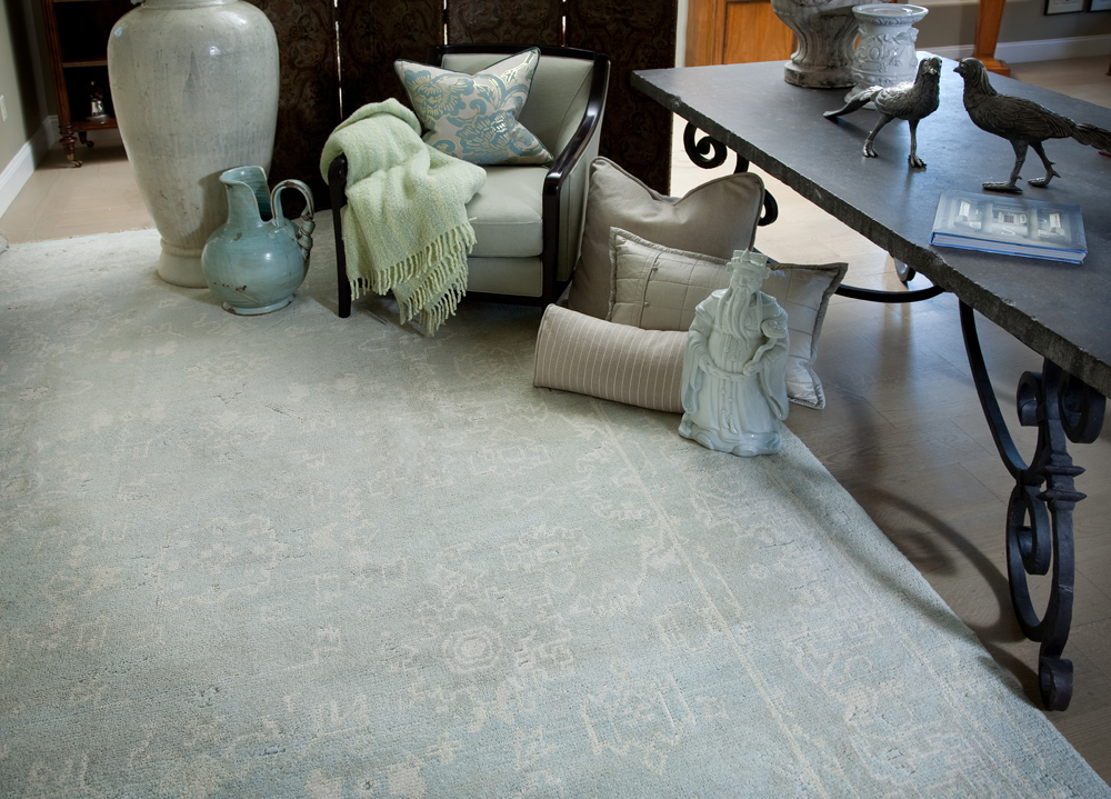 blue rugs, blue rugs for sale, blue and white rugs, blue oushak rugs