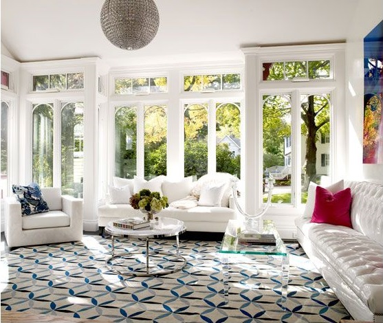 Blue Geometric Rugs Bring Modern Vibe To 2 Traditional Homes