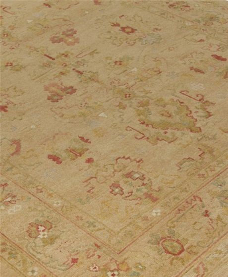 gold and coral oushak rug, oushak rugs, oushak rugs for sale