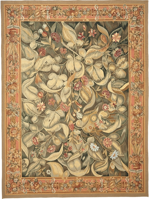 Aubusson rug, Aubusson area rugs, French Aubusson rug, aubusson wool rugs, european carpets,Feuille de Choux, Giant leaf tapestries