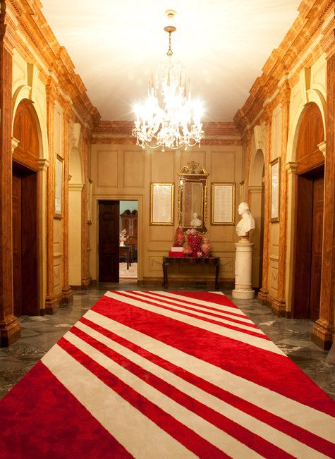 red striped rug entry christmas decor