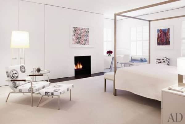 white rug white bedroom fireplace Jacobsen Architecture