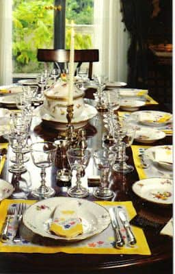 windors paris home table setting yellow