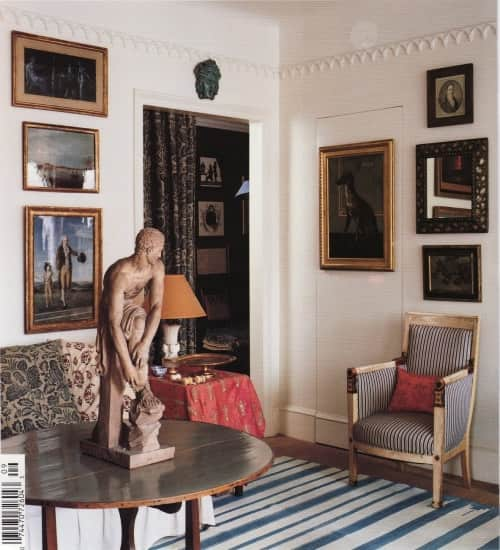 blue striped carolina irving living room world of interiors magazine cover