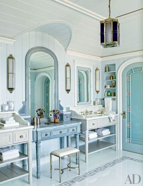 master bath A M Stern Steven Gambrel long Hamptons island beach house