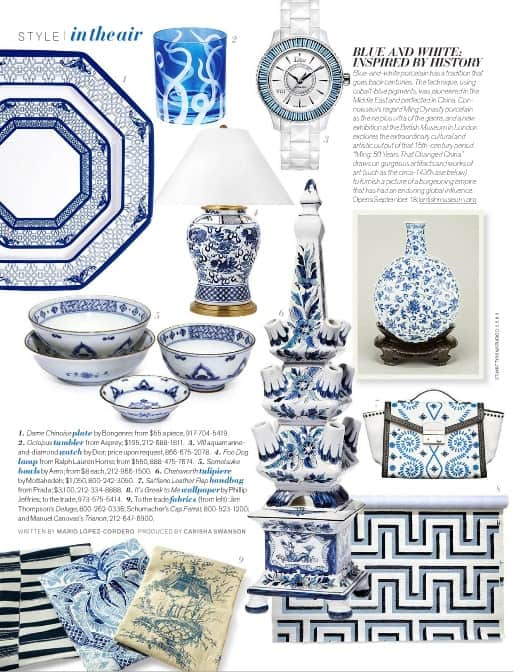 Blue and White decorative accessories Inspired by History