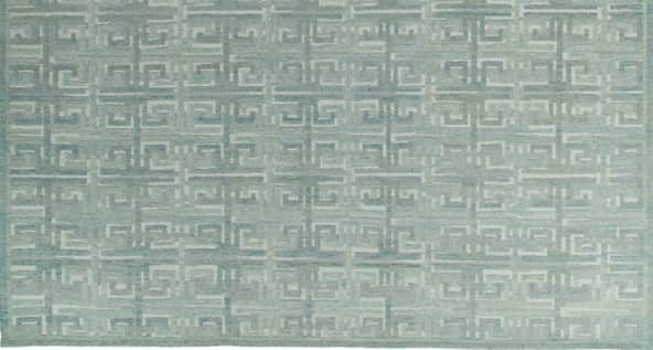 sea blue rug, greek key rug, savonnerie rug, geometric rugs