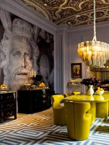 geometric-rug-greek-key-rug-modern-dining-room-yellow-dining_table-and-chairs