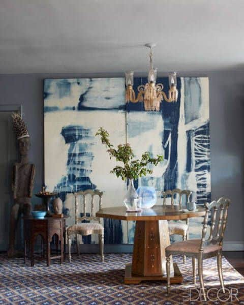 bleach-on-denim_painting_by_John_Robshaw_in_dining_room_of_his_Manhattan_apartment.