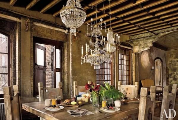 contemporary-rug-rustic-dining-room-Gerard-Butler-Chelsea-new-york-architectural-digest-Elvis-Restaino-Alexander-Gorlin-Architects