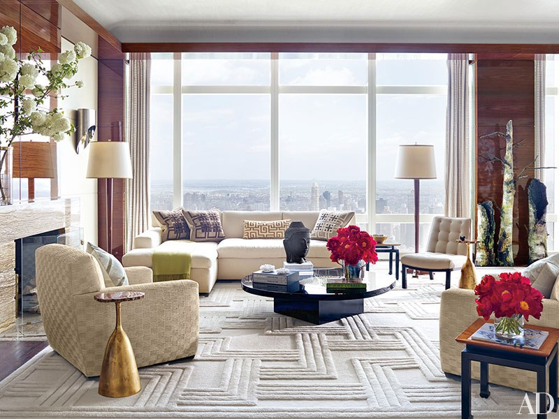 contemporary-rug-white-rug-living-room-Ingrao-Inc-kara-ross-stephen-ross-manhattan-penthouse-architectural-digest-february-2015