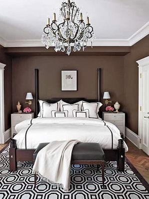 geometric-rug-brown-and-white-rug-masculine-bedroom-rug-coffee-colored-walls-white-linen