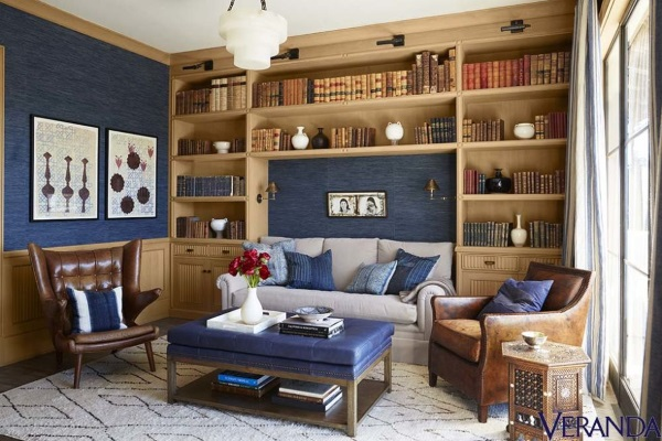 geometric-rug-moroccan-rug-library-reading-room-southern-california-Martyn-Lawrence-Bullard-Veranda-May-June-2015