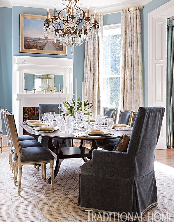 Traditional Home Dining Rooms. beige geometric rug Dining Room Mark Simmons Deb Tallent 2014  Traditional Home 6 Best Rooms with Decorative Rugs in September 2015