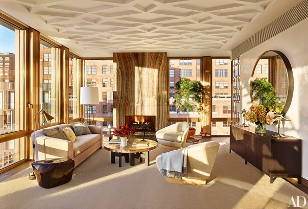 Architectural digest october 2015 9 best rooms with - Gold rugs for living room ...