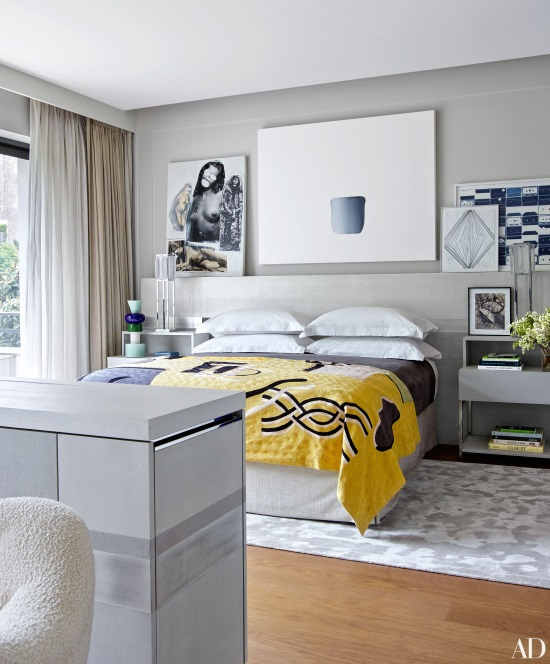 silver and gray silk designer rug in contemporary bedroom