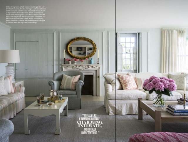 gray flat weave rug and pale uphostery in traditional living room of Bunny Mellons former Cape Cod house updated by Kathryn M. Ireland