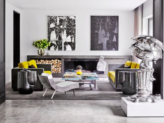 silver and gray silk designer rug in contemporary living room