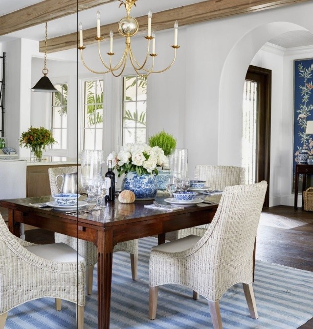 Blue Striped Rug In Dining Room Of Naples Florida House Designed By Summer  Thornton