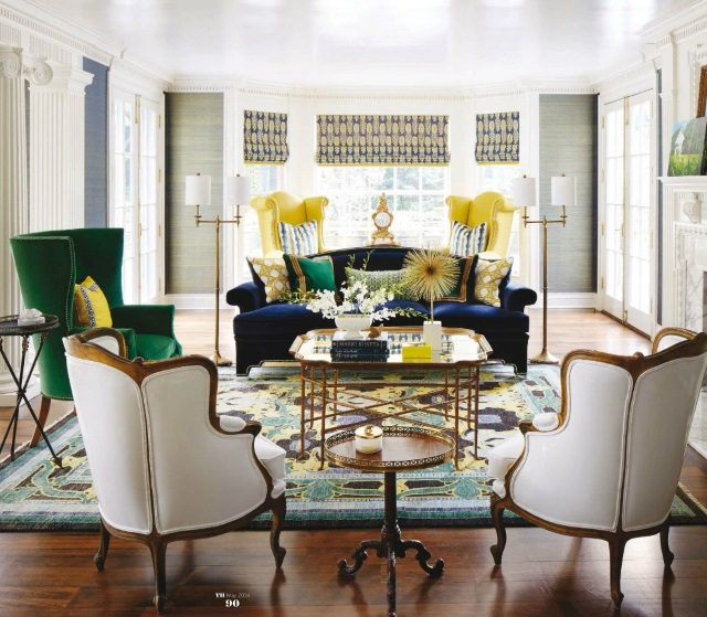 Arts and Crafts oriental rug in sexy traditional living room by Corey Damen Jenkins