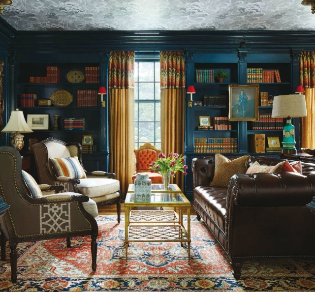 oriental rug in opulent traditional library by Corey Damen Jenkins