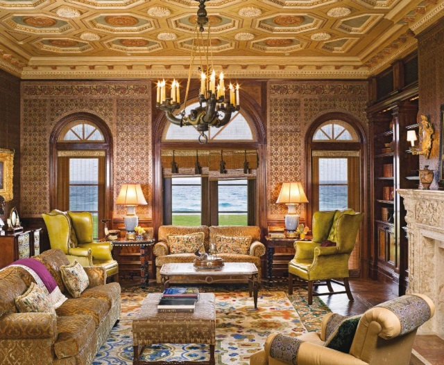 custom Portuguese needlepoint rug in opulent Venetian style library in Palm Beach, Florida