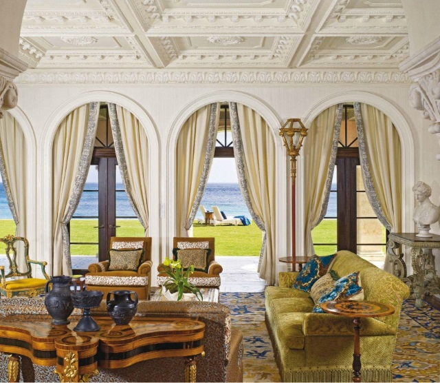 custom Portuguese needlepoint rug in opulent Venetian style living room in Palm Beach, Florida