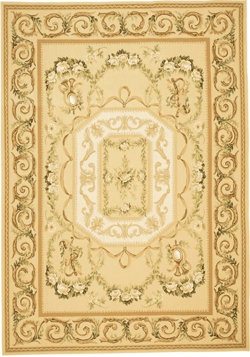Aubusson rug with pale yellow background and green and white accents 5100GD Tosca