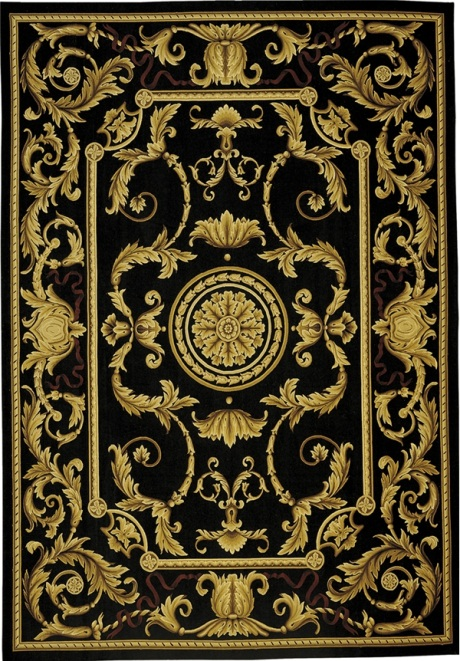 Aubusson rug with black background and gold scrolls 5115bk Lasarre