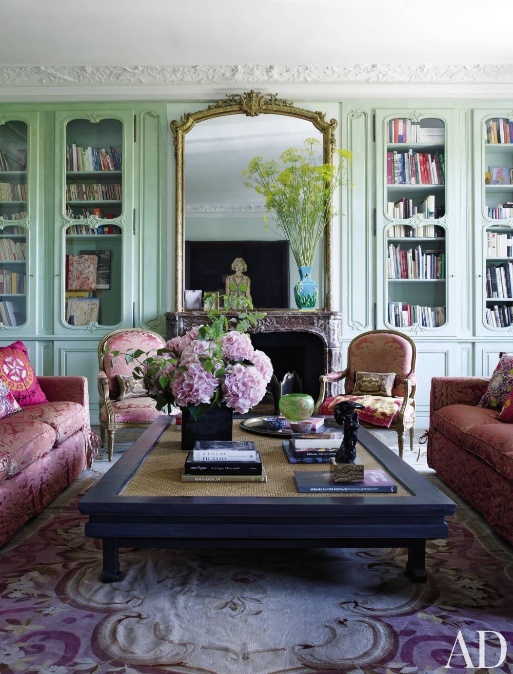 aubusson rug in traditional living room in Paris designed by Jacques Garcia