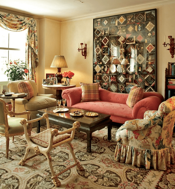 Susan Zises Green has hosted many tea parties on this Bessarabian rug with a palette of cream, dark brown, red and green.