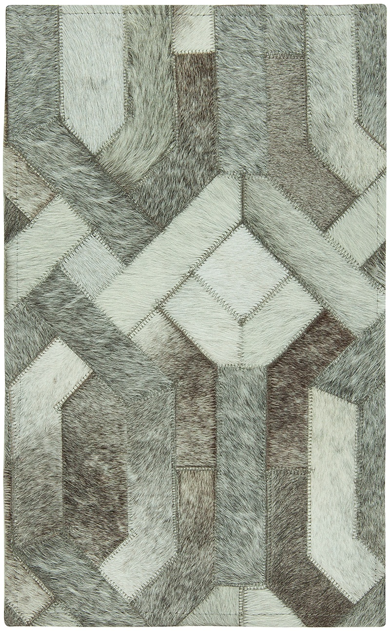 Remake a room with Asmara's gray and white contemporary Chain GRY Cowhide Rug.